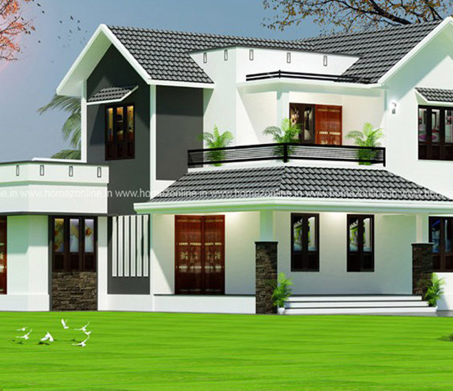 Modern house front design on 1700 Square feet