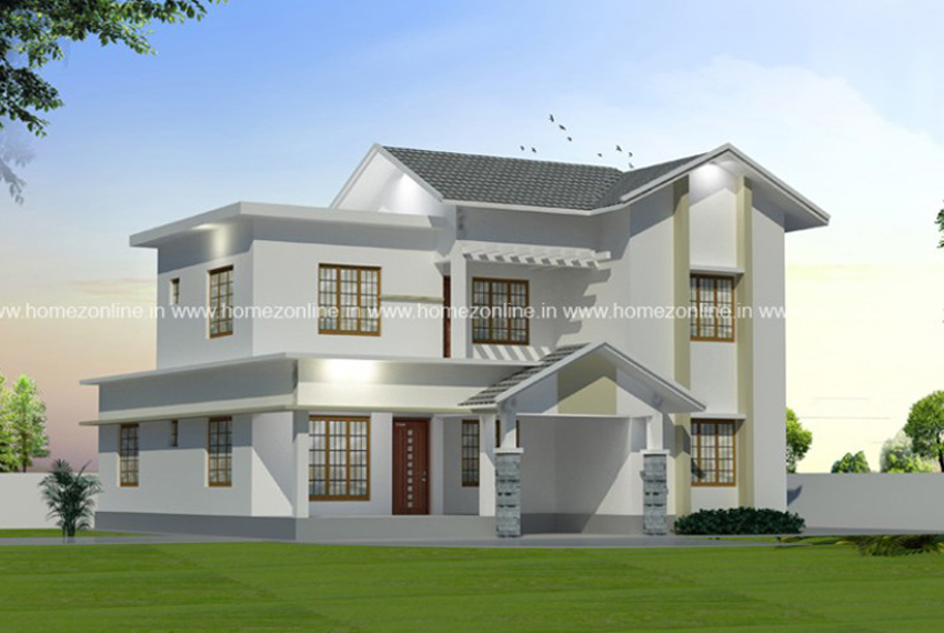 Simple double storey home on mixed roof style