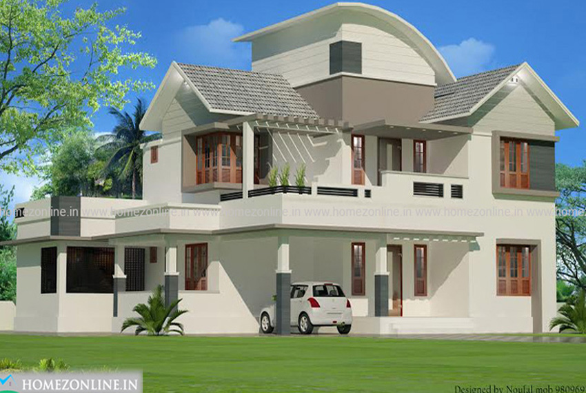 Two floor house plan in mixed roof style