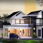 4bhk home design with mixed roof