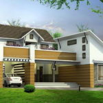 3 BHK contemporary model home design