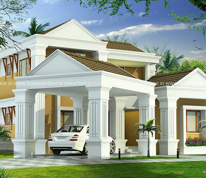 3200 Sq Ft Sloping Roof Home Design