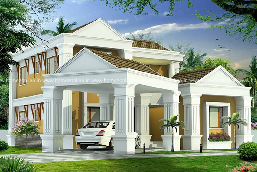 Beautiful Kerala Style Home On Modern Sloping Roof Design Homezonline