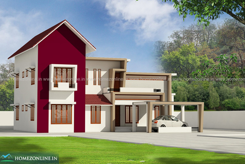 Best modern house design with sloping roof and flat roof