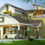 Curved roof house exterior with gliding tile