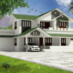 Single family house with green and white color
