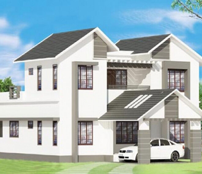 Stylish sloping roof home