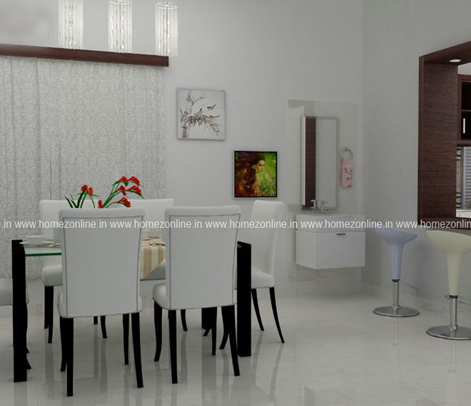 Beautiful dining interior with white wall