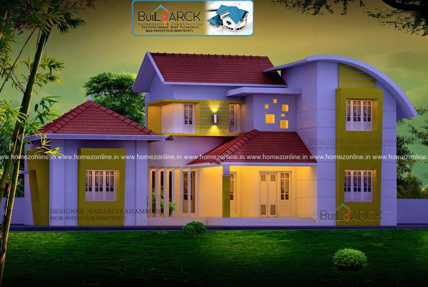 Contemporary home elevation on 2300 square feet