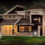 Contemporary house plan elevation in kerala style