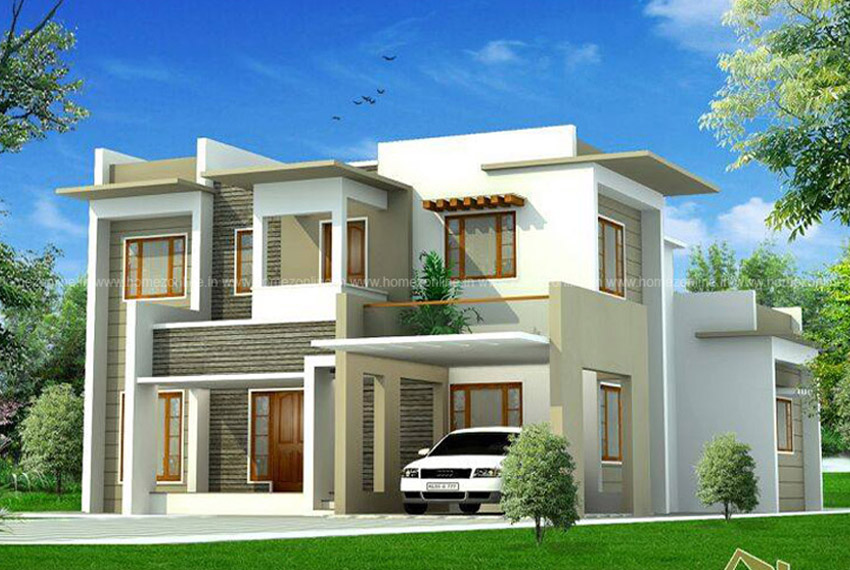 Cute box model house design in 2400 sq ft homezonline for Cute house design