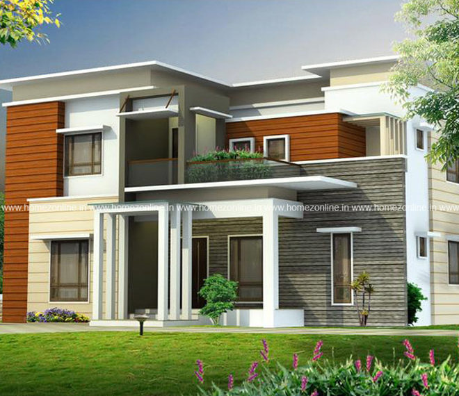 Decorative flat roof home architecture in 2800 sq ft