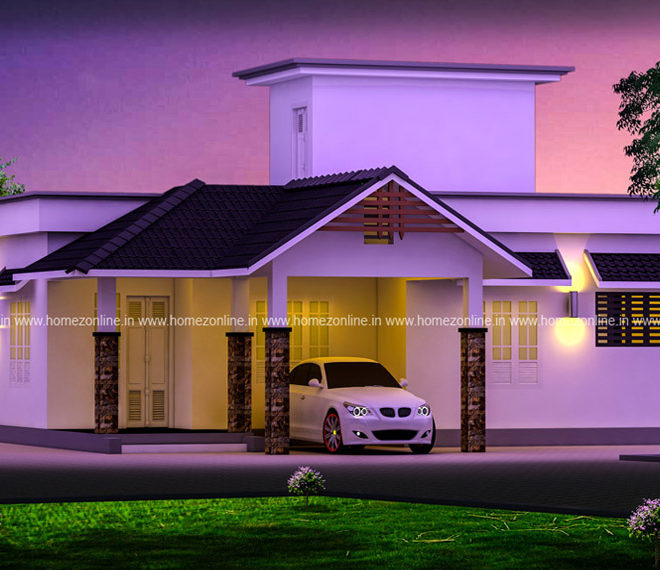 Mixed roof single storied home design