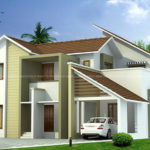 Modern 4 bedroom house with pitched roof design