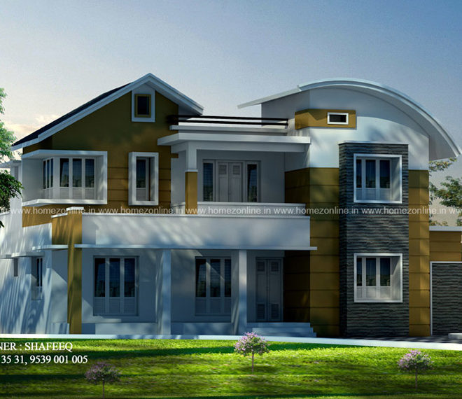 2600 sq-ft 4 BHK mixed roof house design