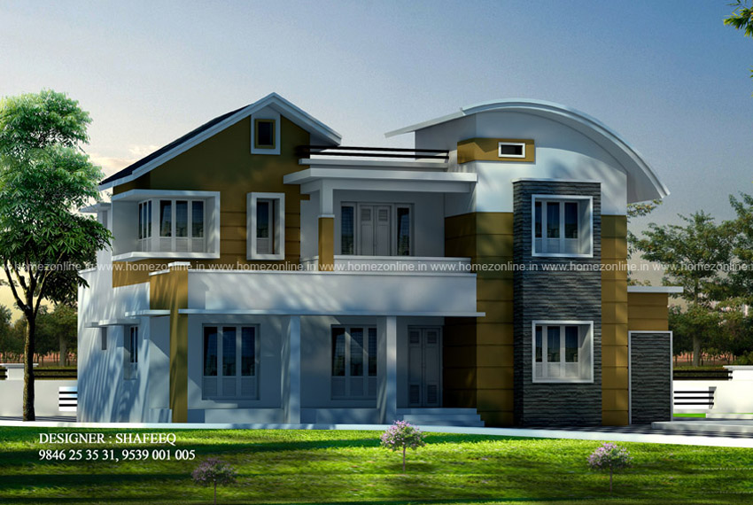 2600 sq ft 4 bhk mixed roof house design homezonline for 4 bhk home design