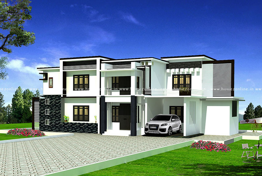 4 BHK house design on modern flat roof