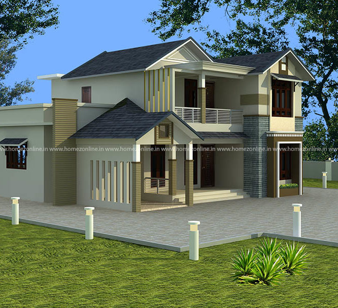 Kerala contemporary home design on sloping roof