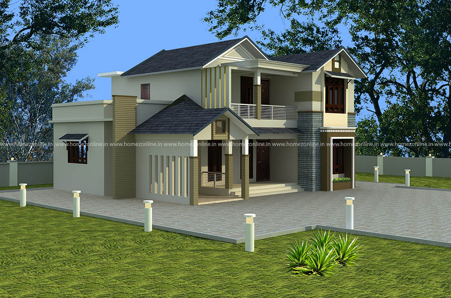 Kerala Contemporary Home Design On Sloping Roof Homezonline