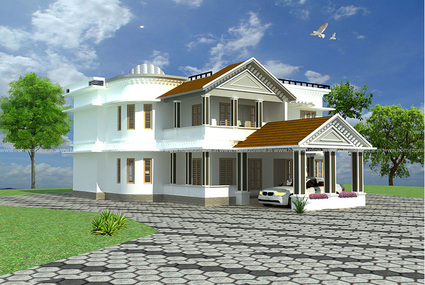 Kerala villa design on 4 bedroom