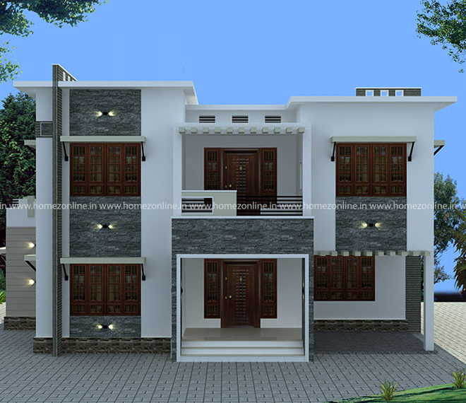 Box type house exterior on 4 bedroom