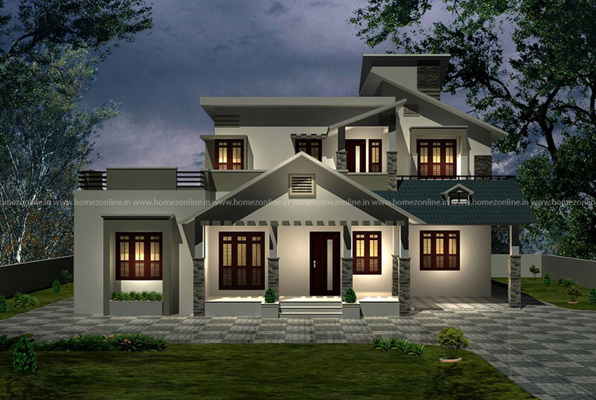 Indian home design plan on a beautiful design style