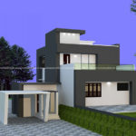 Front porch house design on step plot