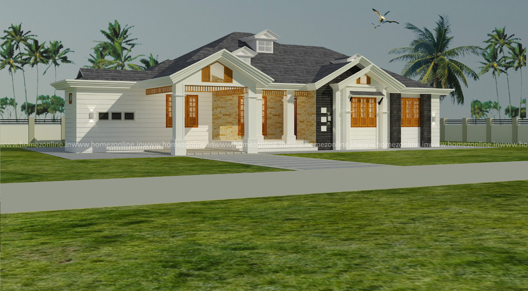 Sloping Roof Home Design On Single Floor