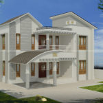 Front balcony design house with side garage