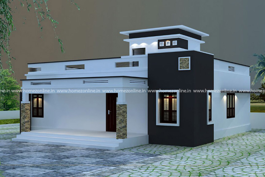 Single floor elevation design in area of 1300 square feet
