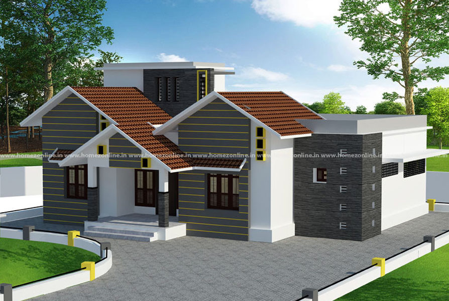 3BHK Home Design On Modern Mixed Roof Style