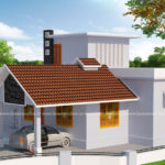 Low cost house design with sloped roof porch