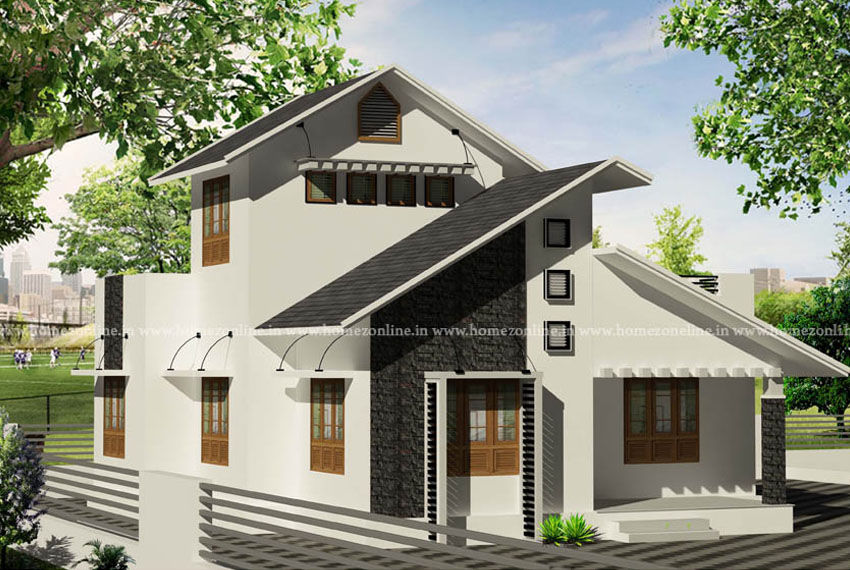 Simple house design on sloping roof style