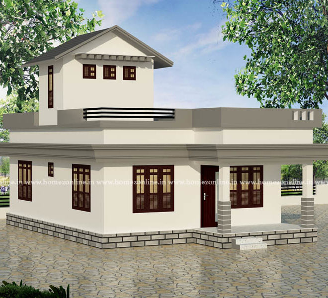 Small flat roof house on low cost and 2 bedroom