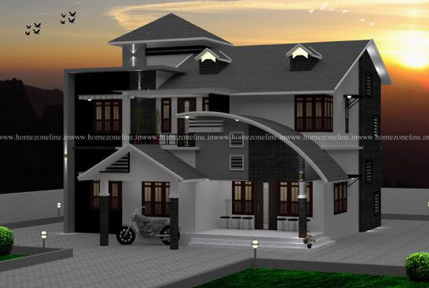 Two floor house design with 4 bedroom attached