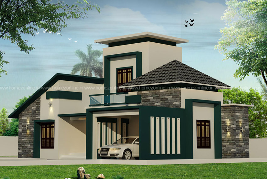 Single Floor Elevation On Beautiful Roof Design Modern Design