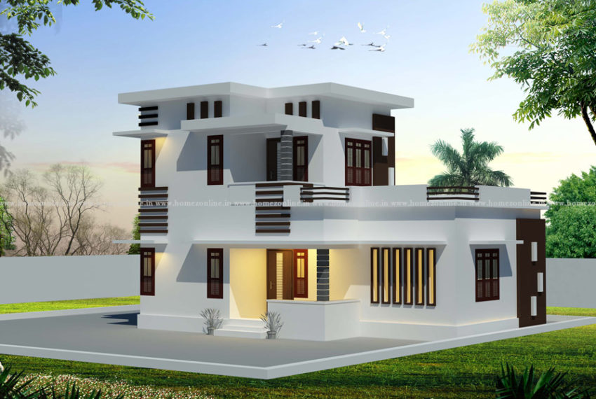 Modern house roof design on double sotrey