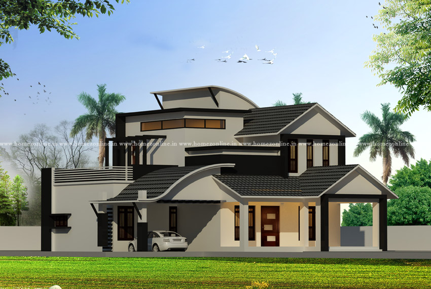 Contemporary house on modern roof design types
