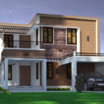 Modern house elevation of a double storey plan
