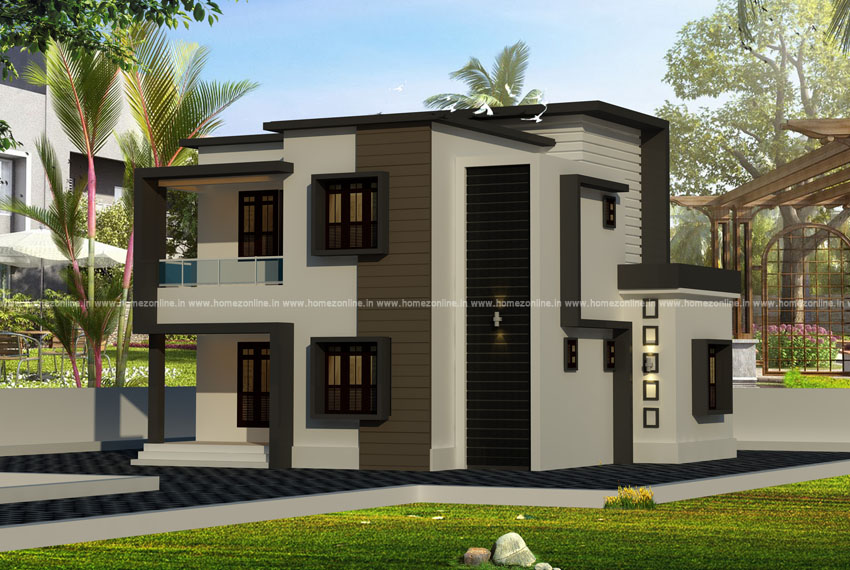 Two storey house elevation in a flat roof design