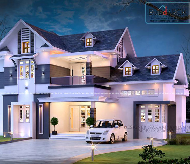 Double story house design with beautiful exterior