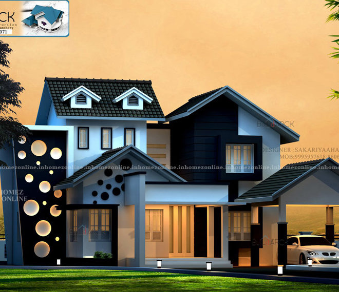 Double storey home design with ravishing exterior look