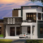 Double story house elevation on a stunning design