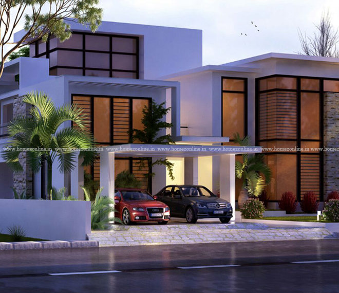 Beautiful double story home with awesome flat roof design