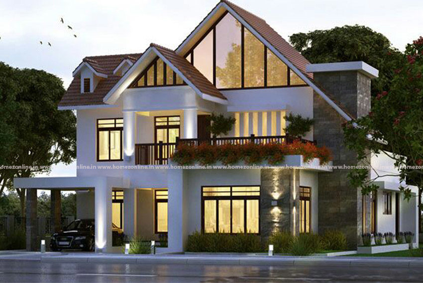 Decorative modern duplex home on gable roof design