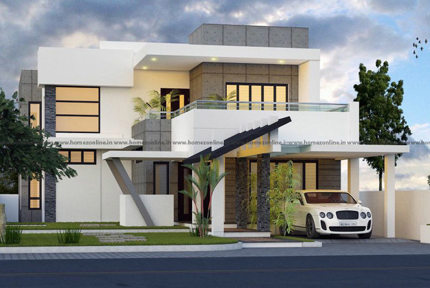 Modern two storey home design on pretty outdoor view
