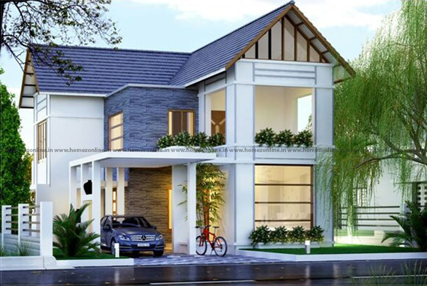 Beguiling home design exterior on gable roof style