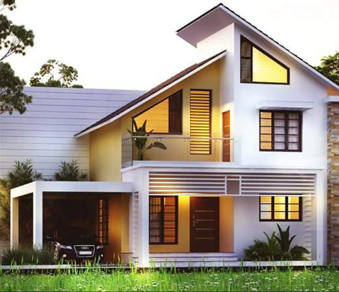 Kerala Home Design: 30+ Modern Sloping Roof Designs Collection