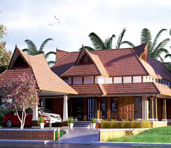 Nalukettu style Kerala home with nice looking outside view