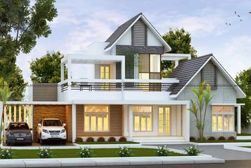Small double floor house on classy front elevation design - Download Front Design Of House In Small Budget Double Floor  Pics